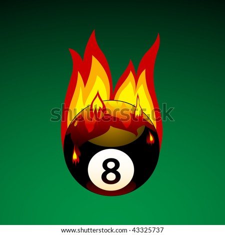 Vector Illustration of Pool Ball No. 8 on Fire - stock vector