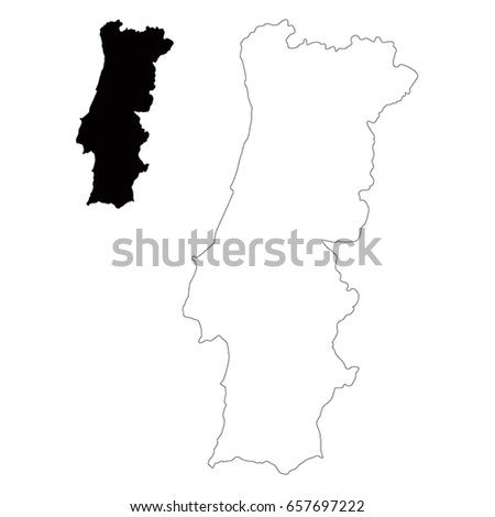 Vector Map Portugal Stock Vector Shutterstock - Portugal map vector