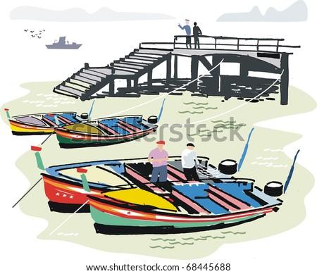 Vector illustration of Portuguese fishing boats at anchor next to wharf, Algarve . - stock vector