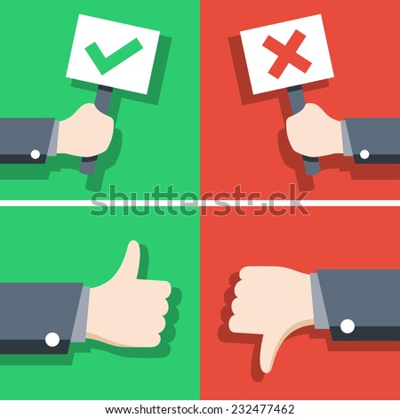 Vector illustration of positive and negative feedback concept, flat style - stock vector