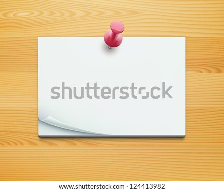 Vector illustration of post note with push pin on detailed wooden background - stock vector
