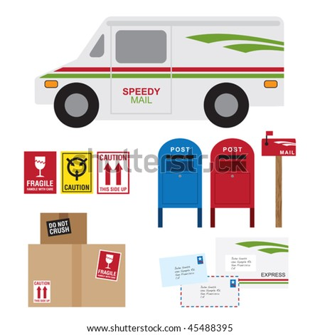 Vector illustration of postal service items including postal car, post box, mail box, shipping boxes and letters. - stock vector