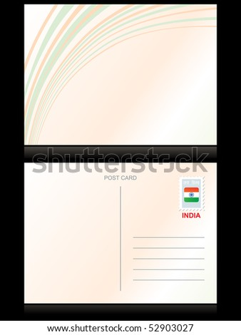 vector illustration of postcard with background - stock vector