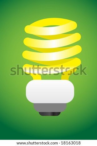 Vector illustration of power saving environmental friendly lightbulb - stock vector