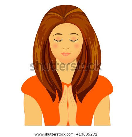 Vector illustration of praying woman - stock vector