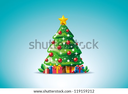 Vector illustration of presents around Christmas tree