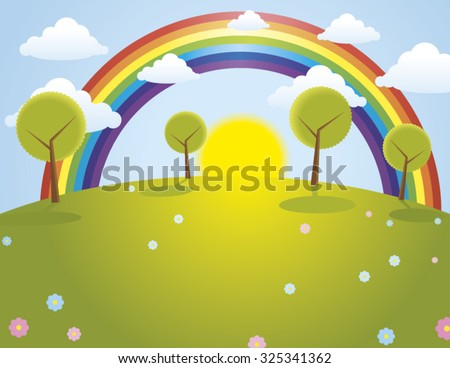 Vector illustration of pretty colorful landscape with rainbow - stock vector