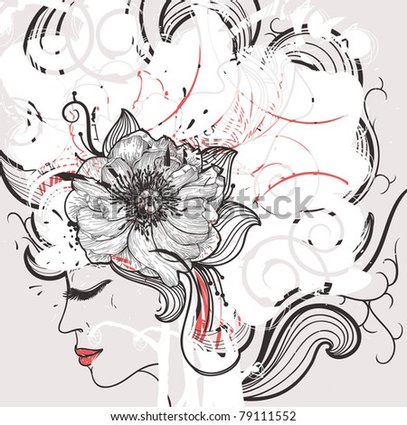vector illustration of pretty girl with fantasy hairdo - stock vector