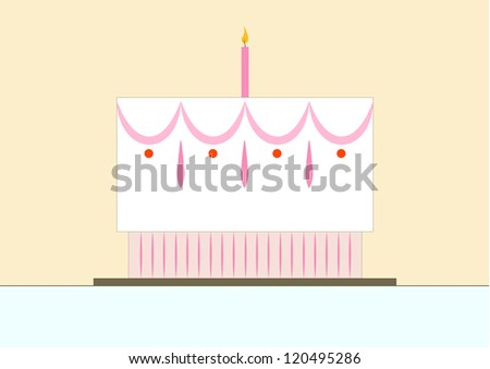 vector illustration of pretty, pastel colored birthday cake with one lit candle - stock vector