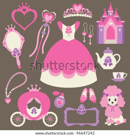 Vector illustration of princess design elements. - stock vector