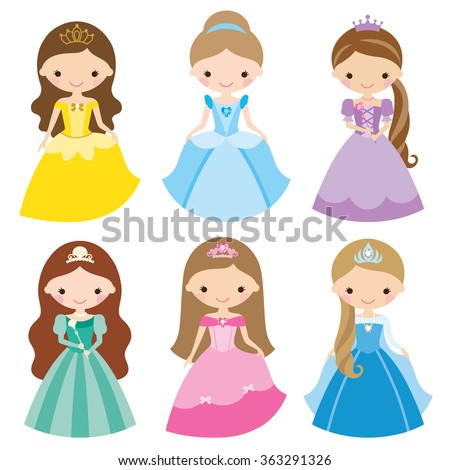 Vector illustration of princess in different costumes. - stock vector
