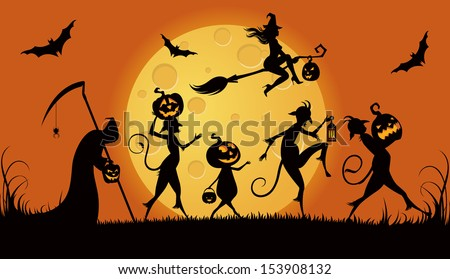 Vector illustration of procession monsters on Halloween night/ Party monsters for Halloween/ Silhouettes procession of monsters on Halloween night - stock vector