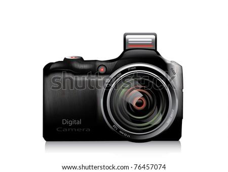 Vector illustration of professional camera - stock vector