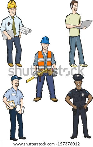 Vector illustration of professional men. Easy-edit layered vector EPS10 file scalable to any size without quality loss. High resolution raster JPG file is included. - stock vector