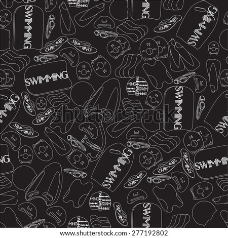 vector illustration of professional swimming equipment seamless pattern in flat design style