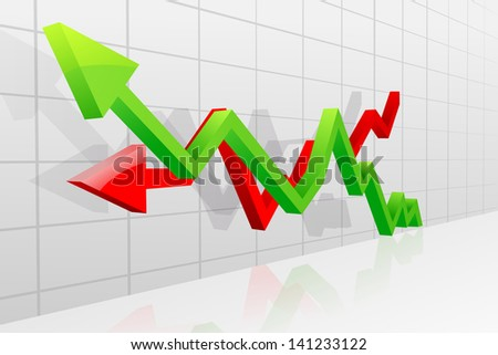 vector illustration of profit and loss arrow for business graph - stock vector