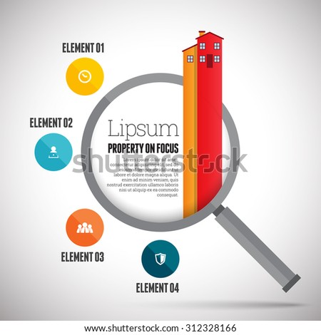 Vector illustration of property focus infographic design element. - stock vector