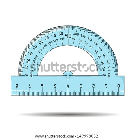 Vector illustration of protractor - stock vector