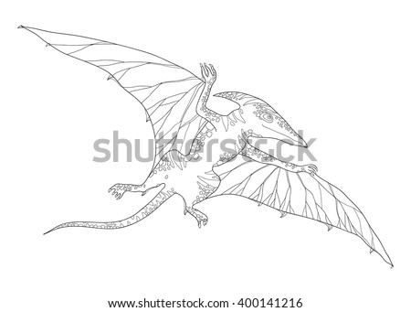 Vector illustration of Pterodactyl or wing lizard from suborders of pterosaurs isolated on white background. Series of prehistoric dinosaurs. Fossil animals and reptiles in contour style. - stock vector
