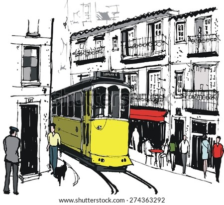 Vector illustration of public tram in Lisbon, Portugal, as it passes historic old buildings and pedestrians.
