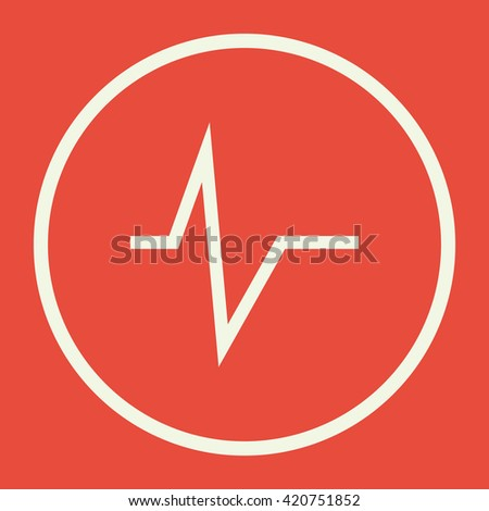 Vector illustration of pulse sign icon on red background. - stock vector