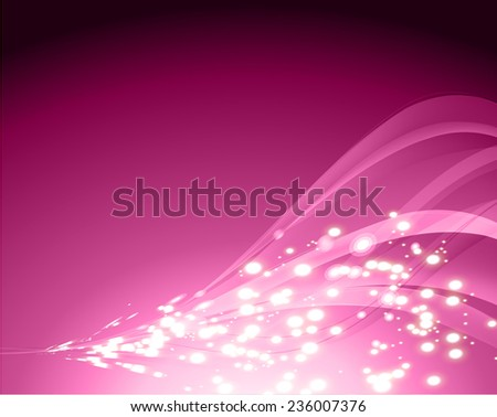 Vector illustration of purple abstract background with blurred magic neon light curved lines. wave. Technology background for computer graphic website internet. - stock vector