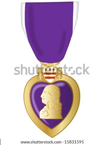 Vector illustration of purple heart medal. - stock vector