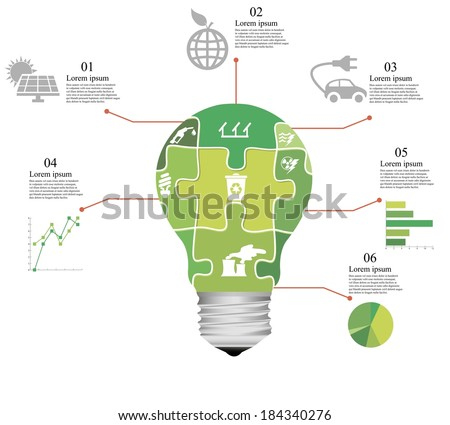 vector illustration of puzzle infographics by way of bulb - stock vector