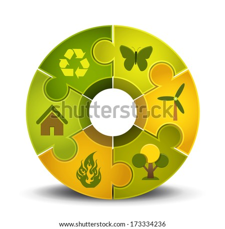 Vector illustration of puzzle with Eco motives.