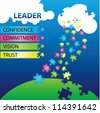 Vector illustration of puzzles with words on the topic of leadership. - stock vector