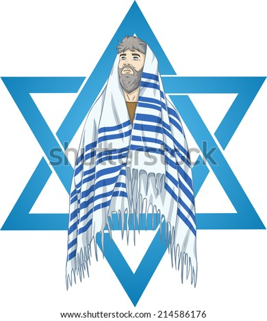 Vector illustration of Rabbi with talit and star of david  - stock vector