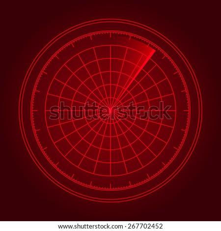 Vector illustration of radar screen - stock vector
