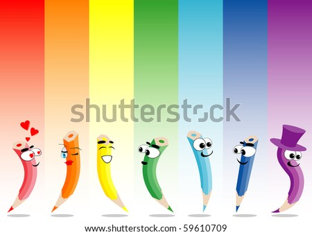 Vector illustration of rainbow and crayons