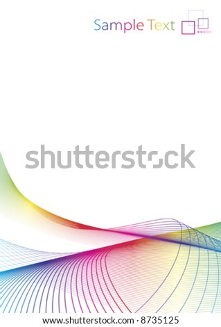 Vector illustration of rainbow colored lined art on a blank white background with template logo or ad message in the corner. Clean. - stock vector