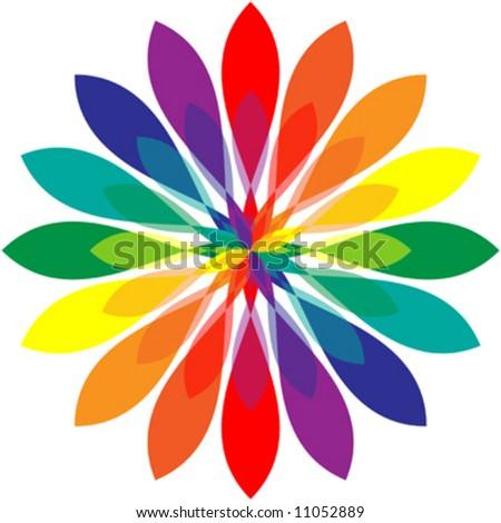 Vector illustration of rainbow colored mandala. - stock vector
