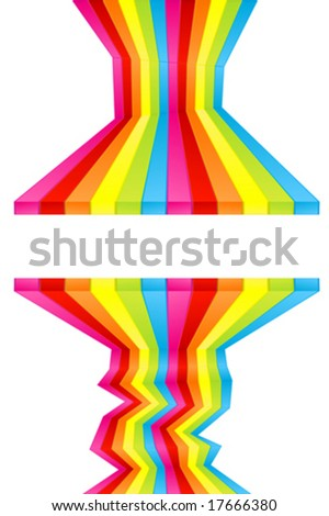 Vector illustration of rainbow colored wall stripes flowing disjointed forming a central frame for custom text. Funky design. - stock vector