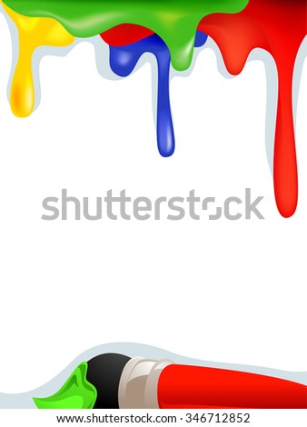 Vector Illustration of Rainbow Paint Background with Paintbrush - stock vector