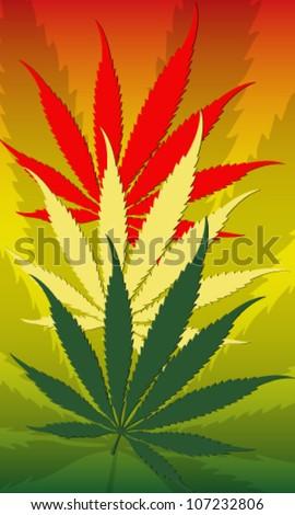 Vector illustration of rastafarian reggie flag and cannabis leafs - stock vector