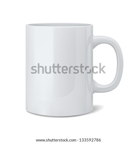 Vector illustration of realistic classic white cup - stock vector