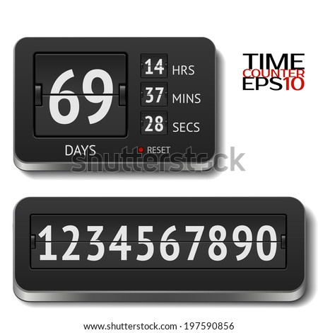 Vector illustration of realistic flip day counter isolated on white. All numbers included - stock vector
