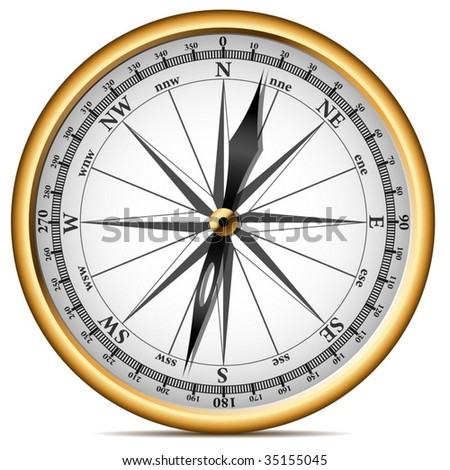 Vector illustration of realistic golden compass isolated on white background. - stock vector
