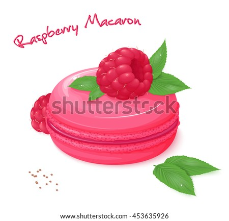 vector illustration of realistic isolated raspberry macaron with fresh ripe raspberry and leaves. - stock vector