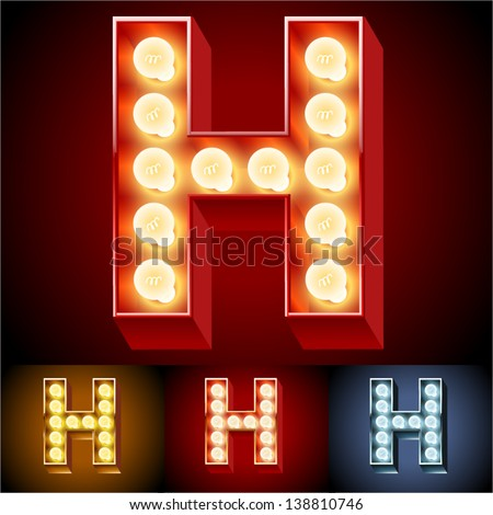 Vector illustration of realistic old lamp alphabet for light board. Red Gold and Silver options. Letter H - stock vector