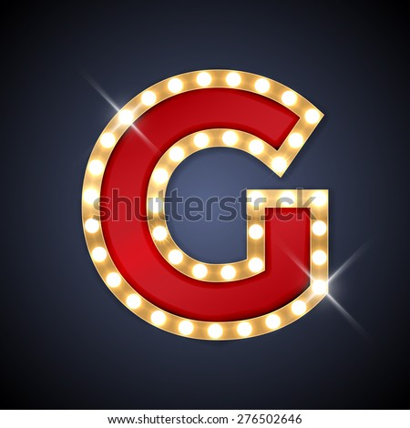 Vector illustration of realistic retro signboard letter G. Part of alphabet including special European letters. - stock vector