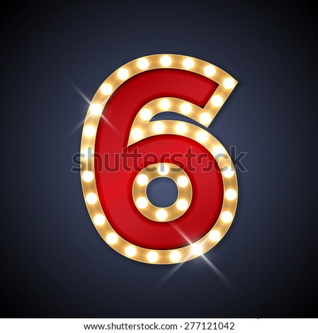Vector illustration of realistic retro signboard number 6 (six). Part of alphabet including special European letters. - stock vector