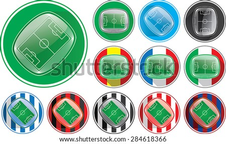Vector illustration of realistic soccer stadium button, different variables, clubs, nations - stock vector