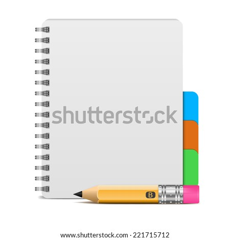 Vector illustration of realistic spiral notebook and detailed pencil - stock vector