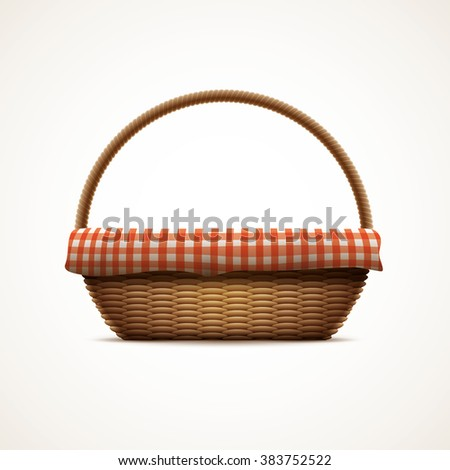 Vector illustration of realistic wicker basket. Elements are layered separately in vector file. CMYK colors. Print ready. - stock vector