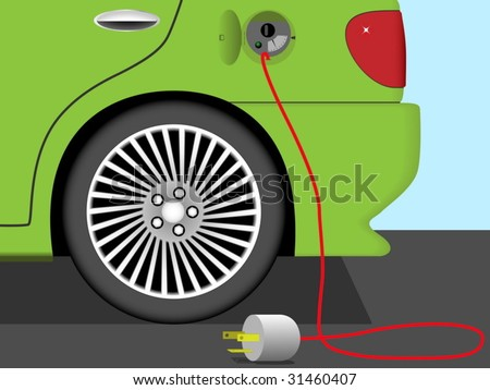 Vector illustration of rear part of electric car. Earth friendly technology. - stock vector
