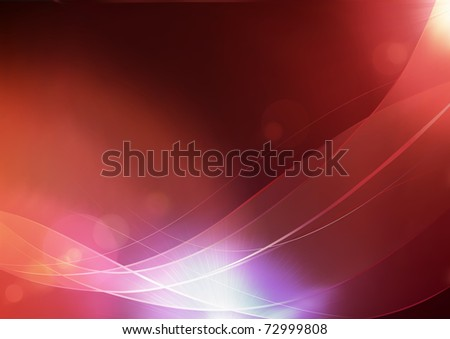 Vector illustration of red abstract background made of light splashes and curved lines - stock vector
